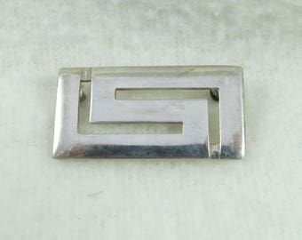 "Minimalist ""Less is More"" Squared Silver Sterling Brooch Pin"