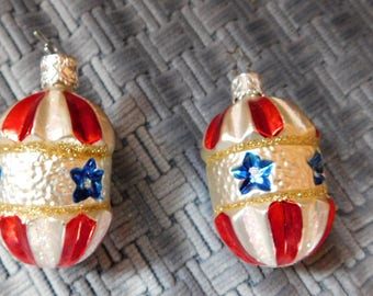 2 Vintage Christmas Red White & Blue Made in Germany