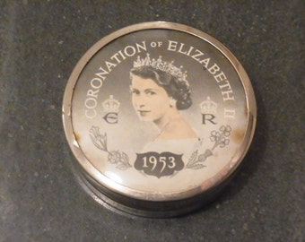 Silver Plated Pin Box made to commemorative the Coronation of Queen Elizabeth II 1953 Coronation Souvenir Royal collectable Coronation Tin