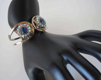 Sapphire & Light Sapphire Aurora Borealis Rhinestone Hinged Clamper Bracelet