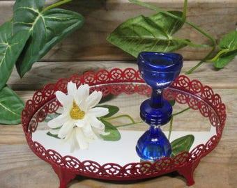 """Painted Red Metal Vanity Mirror - 7"""" X 5"""" Oval, Perfume Vanity Mirror"""