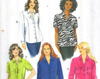 "SALE* Butterick 5721, Sz 18W-24W/Bust 40-46"". Easy Plus Size Shirt pattern with Princess Seams & C/D/DD/DDD cup sizing for Full Busted,Uncut"