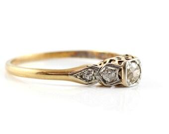 Gold and Platinum Diamond Ring, Vintage Diamond Ring, Engagement Ring, 18ct Gold Ring, Vintage Ring