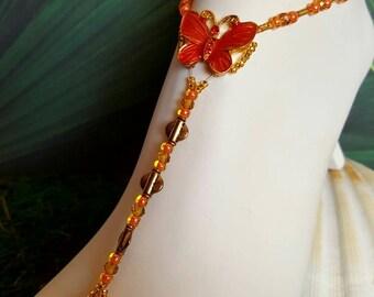Butterfly in burnt orange, Barefoot, Sandals, wedding,beach, bridal,