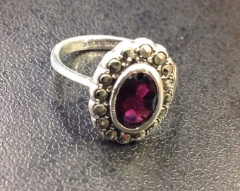 Sterling silver garnet and marcasite cluster ring