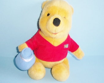 Disney Plush Winnie The Pooh With Hunny Pot 1994 Mattel 10 Inch Tall Plush Pooh in Red Shirt With His Name On It