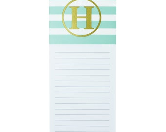Monogrammed Notepad-Magnetic Notepad-Personalized Stationery-Striped Notepad-Refrigerator Notepad-Kitchen Accessories-Personalized Gifts