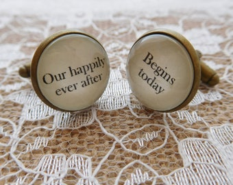 "Handcrafted ""Our happily ever after begins today"" Groom cufflinks , wedding cufflinks, groom gift, Free UK Shipping"