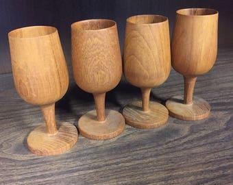 Vintage Wooden Goblet Pedestal Mugs Set of 4