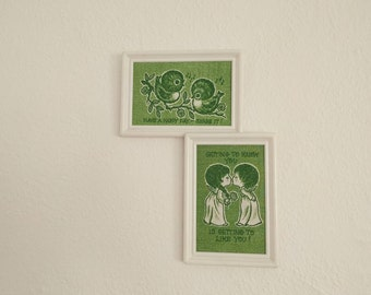 Green Print Wall Hangings (Set of 2). Print Wall hangings. Couple Pictures. Bird Picture. Vintage Home Decor.