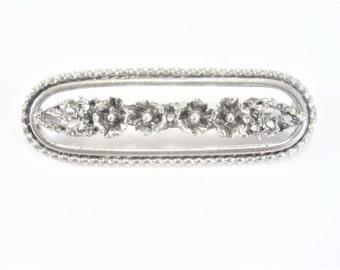 Beau Sterling Long Floral Brooch Vintage Bar Pin