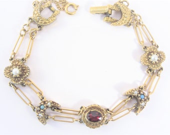 Vintage Signed Goldette Charm Bracelet Double Link Chain