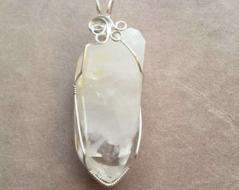 White Ghost Phantom Quartz Crystal Wire Wrapped Pendant in Sterling Silver