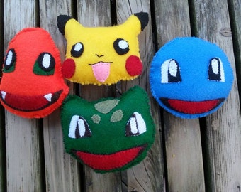 Pokemon Pikachu, Squirtle, Bulbasaur and Charmander mini stuffies/ornaments
