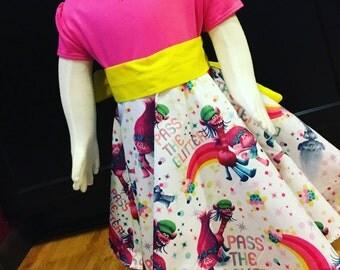 Trolls twirly dress handmade, birthday party, t-shirt dress