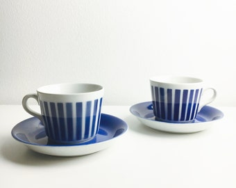 Rare hand printed vintage Arabia Finland ceramic blue stripe coffee cup with saucer by Kaj Franck, made in Finland, 1970s