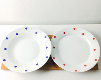 "Vintage Arabia Finland ceramic dinner plate and soup plate set named ""Ping-pong"" by Raija Uosikkine, 1950s - Made in Finland"