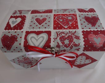 Patchwork heart design decoupage wooden treasure chest box, for jewellery, keepsakes and treasured items.