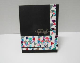 Handmade greeting card - It's your special day - Silver metallic - Watercolor triangles - Geometric - Rainbow - Just because card