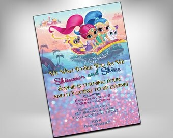 Shimmer and Shine Invitation, Shimmer and Shine Birthday, Party Invitations, Genie Invites, Sparkle Invite