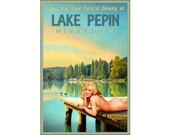 Lake Pepin Minnesota Marilyn Monroe Pin Up Poster Duck Dock Sunset Art Print 293