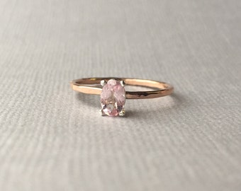 Rustic Design 6 x 4 mm Genuine Baby Pink Morganite - Oval cut faceted - Mixed Metals - 14K Rose Gold Filled and Sterling Silver