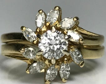 Vintage Diamond Cluster Ring. 14K Yellow Gold. 0.80+ Carats. Unique Engagement Ring. April Birthstone. 10 Year Anniversary. Estate Jewelry.