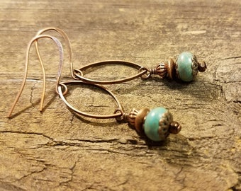 Drop Earrings, Boho Earrings, Dangle Earrings, Turquoise Earrings