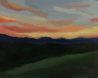 Sunset Mountains  | landscape Oil Painting | 5x7