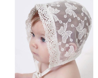 Baby Girls Bonnet in Ivory Lace for Christenings and Baptisms, delicate and unique.  Portrait,  3 months  6 months 9 months  18033