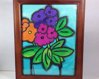 Flower Bouquet - Framed Mixed Media Art Original