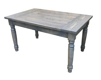 English Farmhouse Table With Thick Turned Round Legs / Farm Table / Harvest  Table / Rustic