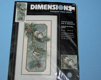 Dimensions 3199 Stamped Count Cross Stitch  Beautiful Chickadees on a Branch
