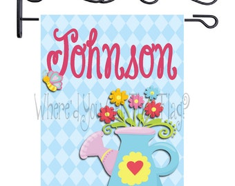 Custom Personalized Garden Flag Flower Watering Can