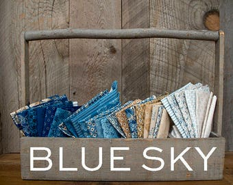 """Blue Sky - Laundry Basket Quilts by Andover Fabrics Fat Quarters or 12"""" WOF or One Yard or 1/2 Yard cuts, entire collection"""