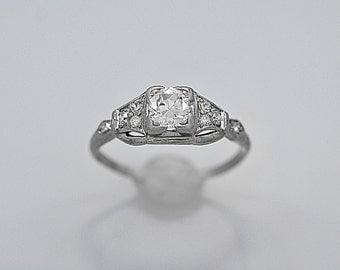 Platinum .50ct. Diamond Art Deco Antique Engagement Ring - J36340