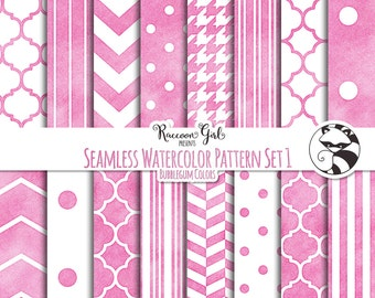 50% OFF Seamless Watercolor Pattern Set #1 in Bubblegum Colors Digital Paper Set - Personal & Commercial Use
