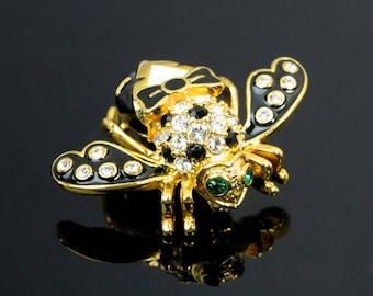 Vintage Joan Rivers Tuxedo Bee Brooch Pin Black Enamel Tux and Pave Crystals in Gold Tone