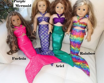 "Mermaid Tail Doll Outfit for 18"" dolls similar to American Girl. Mermaid Costume. Birthday Gifts!"