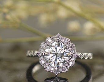Kite Set Cushion Cut Moissanite and Diamond Halo Engagement Ring, Scalloped Halo, 7x7mm/1.66ct Forever One Moissanite, Vintage Style, Lisa M