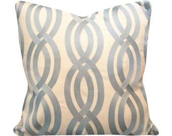 Kaufmann Geometric Embroidered Decorative Pillow Cover - Throw Pillow - Solid Cream Back- 12x16, 12x20, 14x18, 14x24, 16x16, 18x18, 20x20