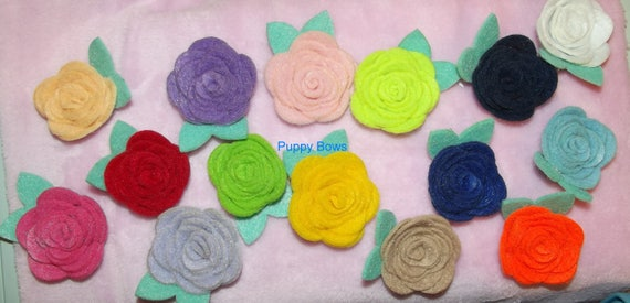 Puppy Bows ~ Girl OR Boy Sweet felt ROSE flowers mint green leaves pet dog hair bow clip or latex bands ~Usa seller