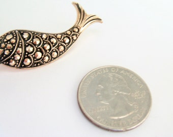 Vintage Marcasite Brooch / Pin / Whale Brooch / Pin / Marcasite Jewelry / Fish Brooch / Pin / Nautical Brooch / Pin
