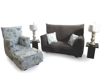 Barbie Doll Living Room Furniture 9-PC Play Set-1:6 scale-Charcoal Gray Flower print - works also with Blythe and any 11 inch fashion doll