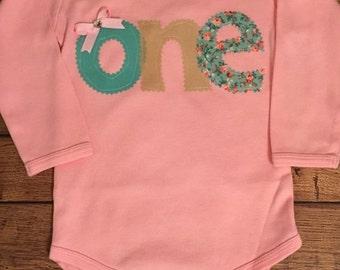 Pink, Tan, and Seafoam Green Birthday Shirt or Baby Bodysuit