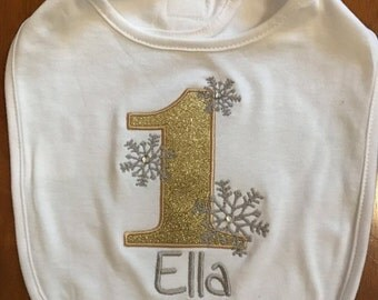 Gold and Silver Grey Winter Onederland Snowflake Birthday Bib With Name Embroidery