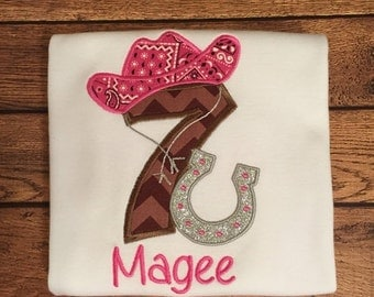 Pink and Brown Cowgirl and Horse Shoe Embroidered Birthday Shirt or Baby Bodysuit