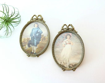 Brass Framed Art, Vintage Brass Frames, Boy Girl Prints Pictures, Wall Decor, Hanging, Boho Farmhouse Eclectic Decor, Made in Italy