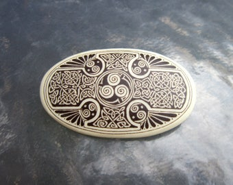Large vintage ceramic brooch with Celtic designs - estate jewelry