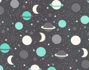 Mint Outerspace Planets, Space Explorers, by Ann Kelle for Robert Kaufman